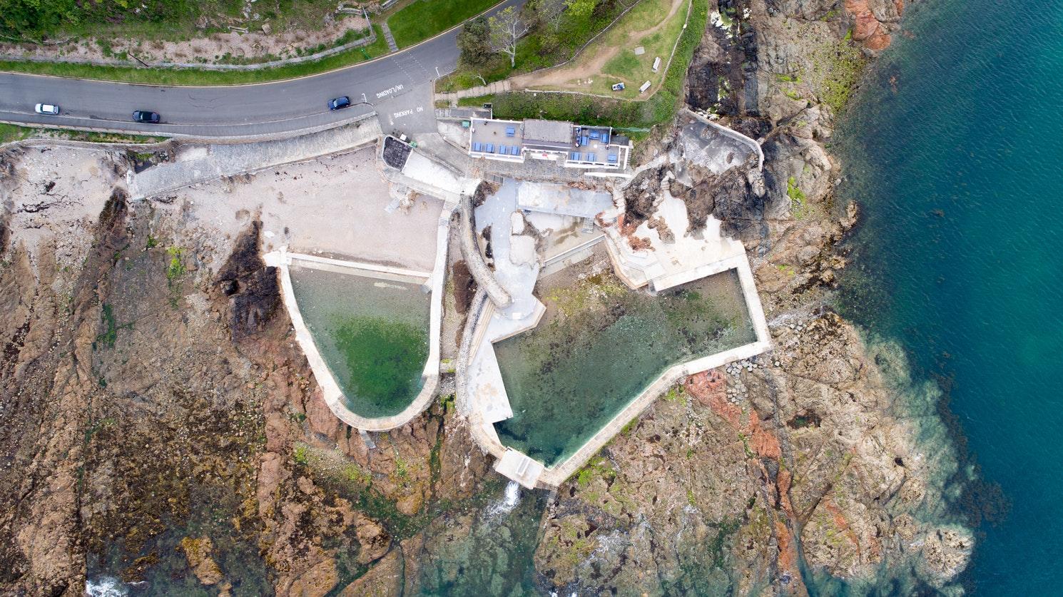 Aerial shot of cliffside property