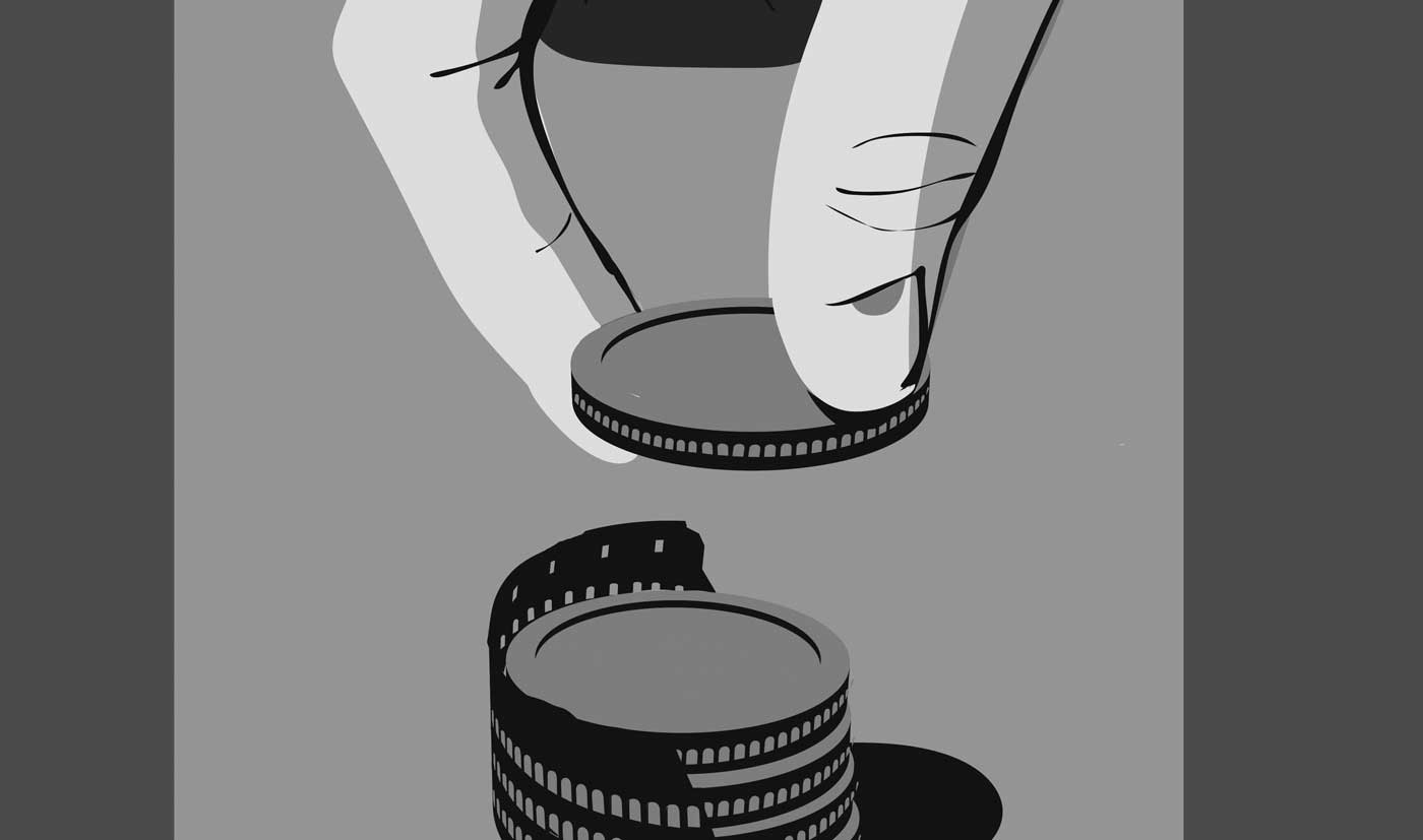 Illustrated photo of hand stacking coins