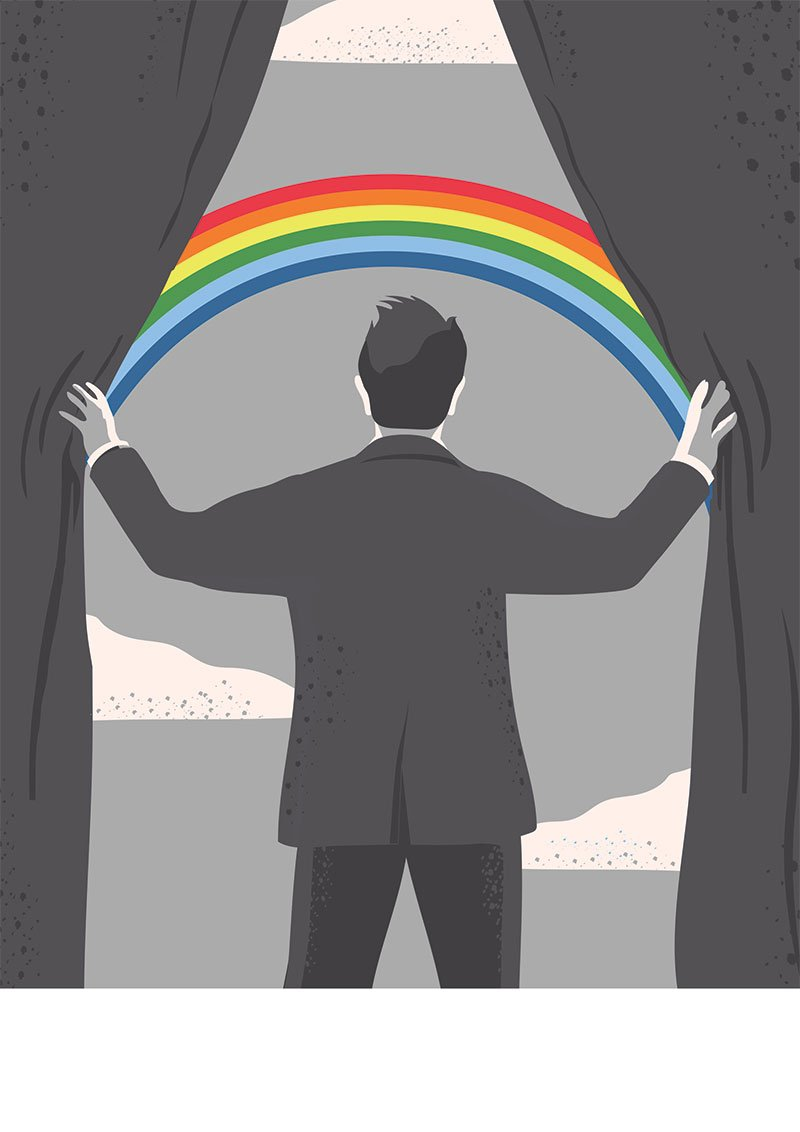 illustration of opening curtains to rainbow