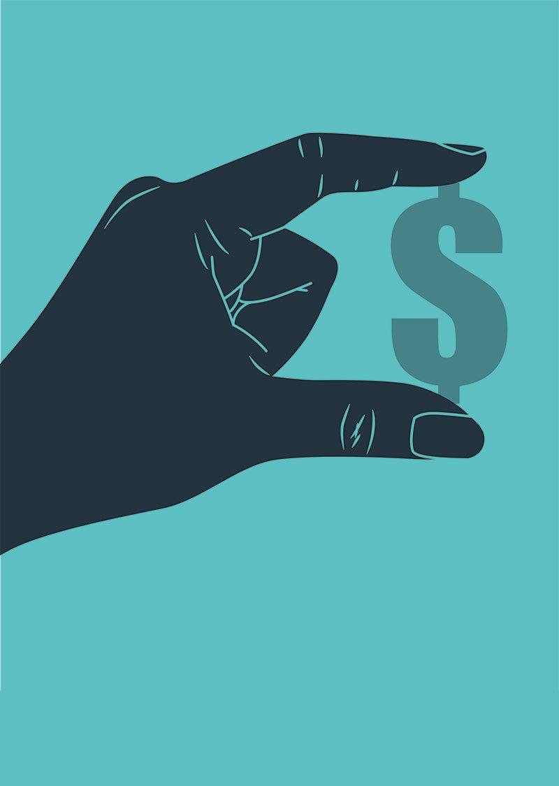illustration of hand holding dollar sign