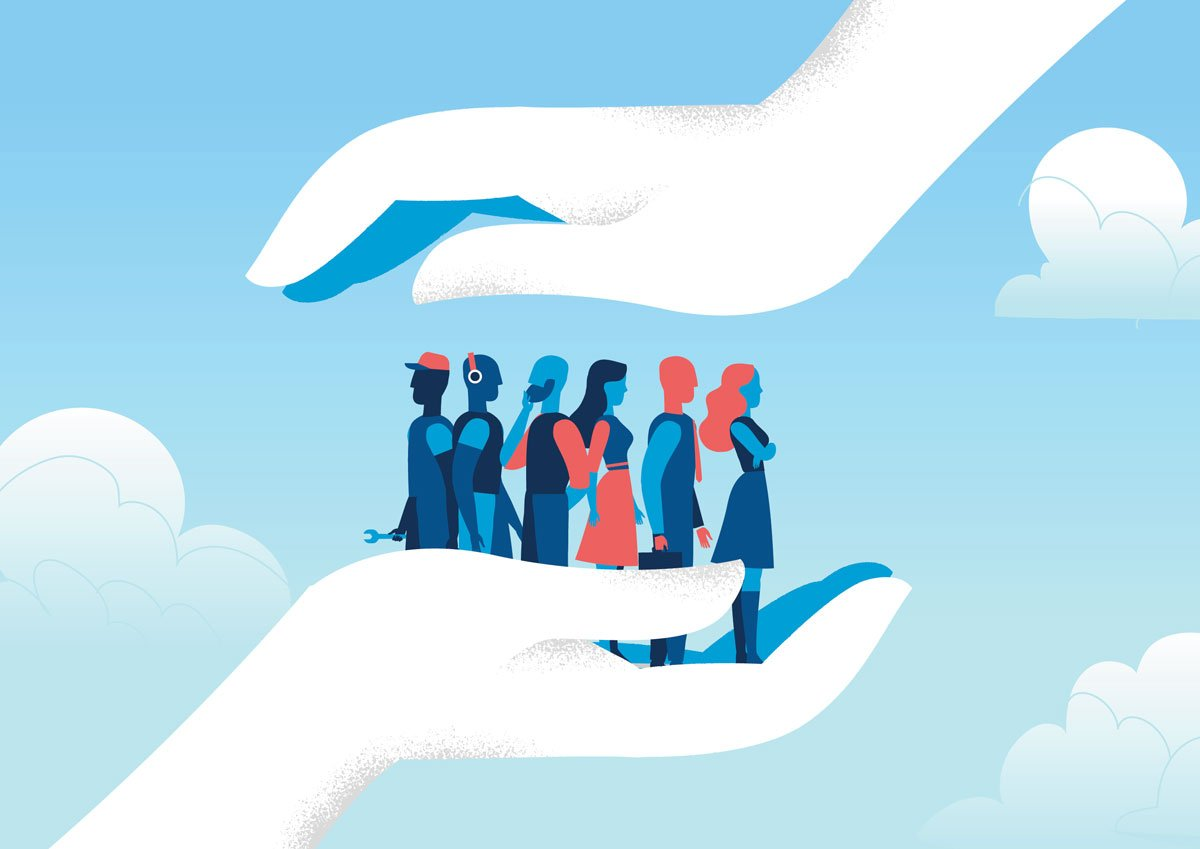 illustration of people in hand