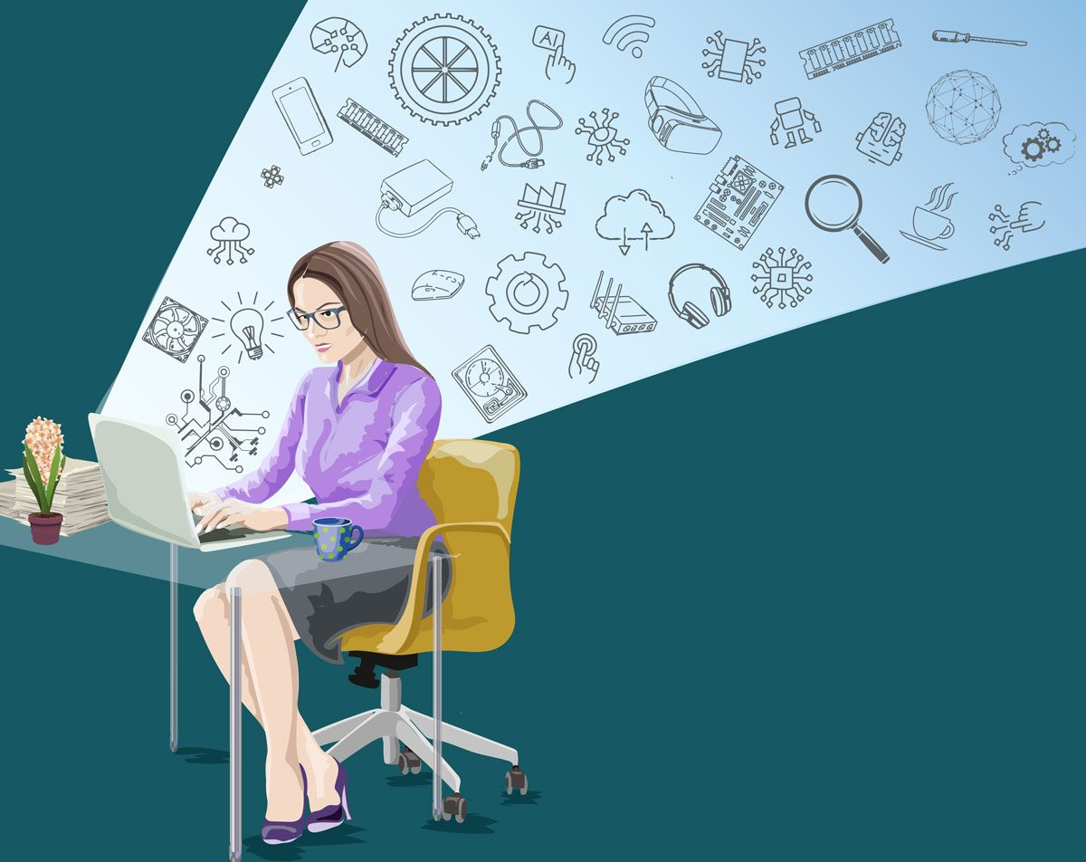 illustration of woman working at desk
