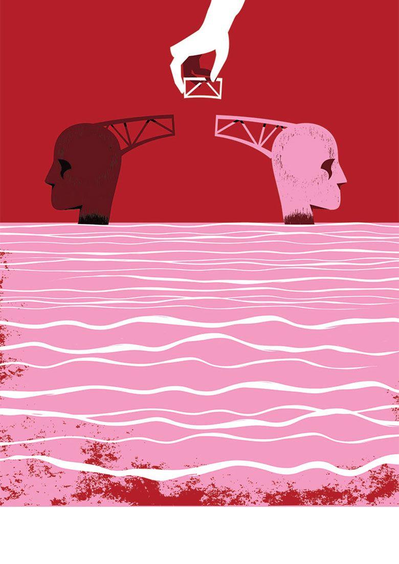illustration of bridge between heads
