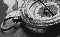 photo of black and white compass