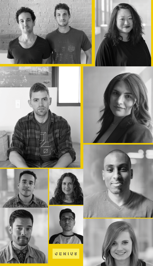 collage of photos of staff from Genius tech music startup