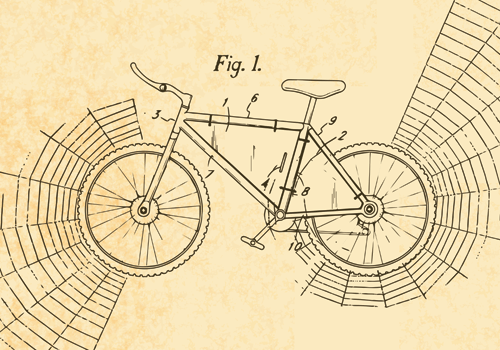 image of bike patent in spider web