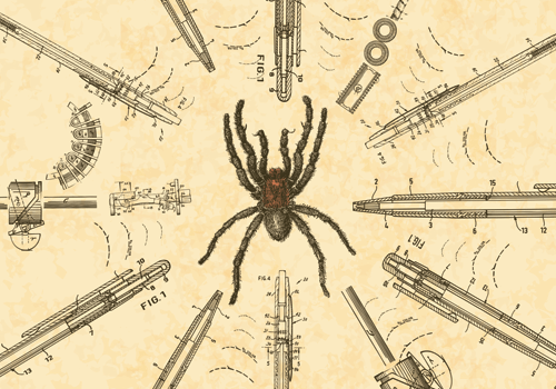 image of spider in middle of patents